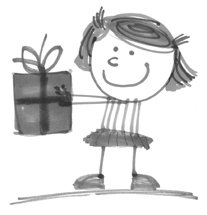 Cartoon of girl giving gift